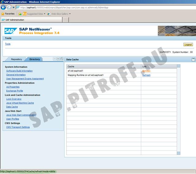 Рис. 8: Вкладка Directory - обновление CPACache