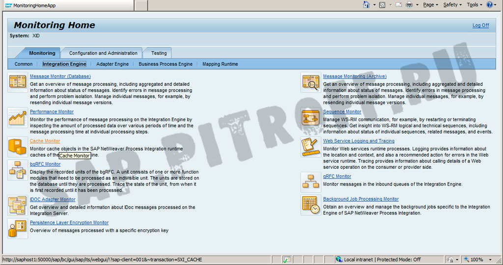 Рис.9: Инструменты мониторинга и настройки SAP PI