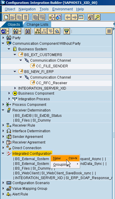 Рис.16: создание нового объекта Integrated Configuration